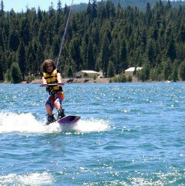 Mikey Majors shredding it behind a ski boat.