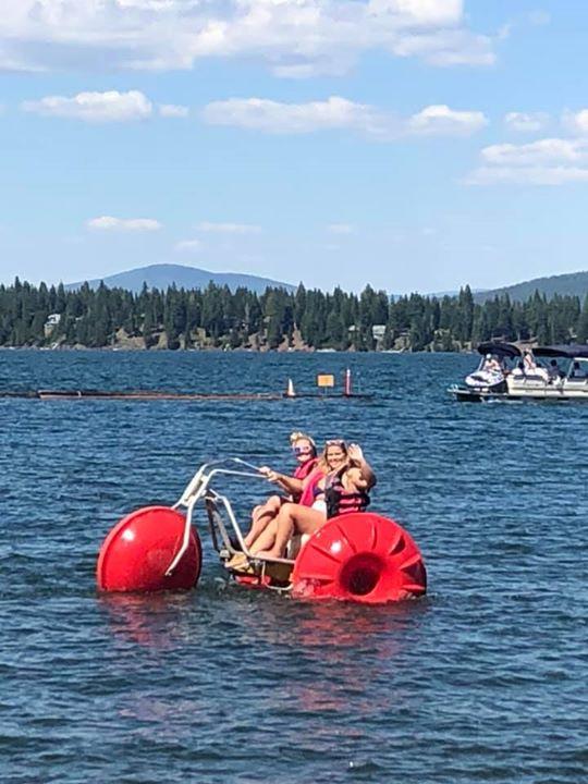 Jacee and Megan enjoying the water trike