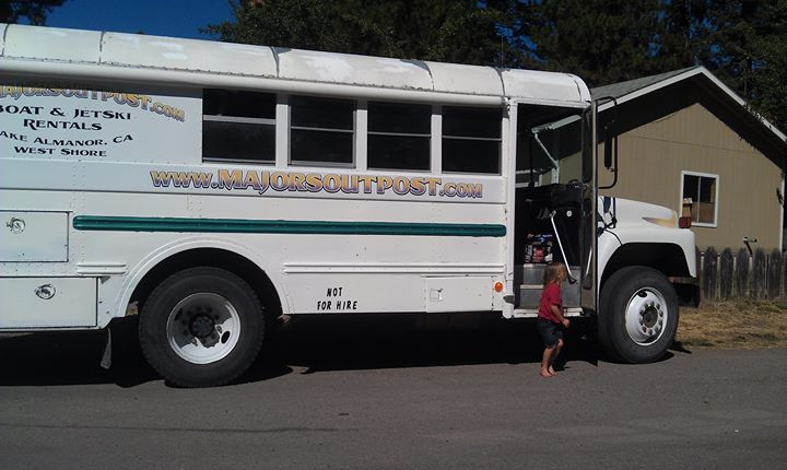 Our Majors Outpost Bus promoting the rentals