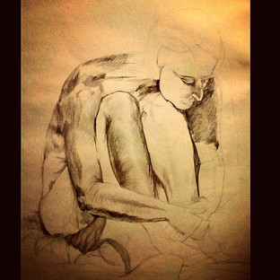 Black soft charcoal and pencil