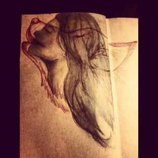 Girl Wolf Pencil Sketch