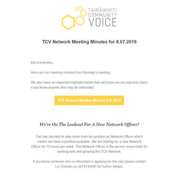 TCV Network Meeting Minutes from Monday 8th July 2019
