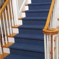 Marvelous Navy Blue Wool Stair Runner.