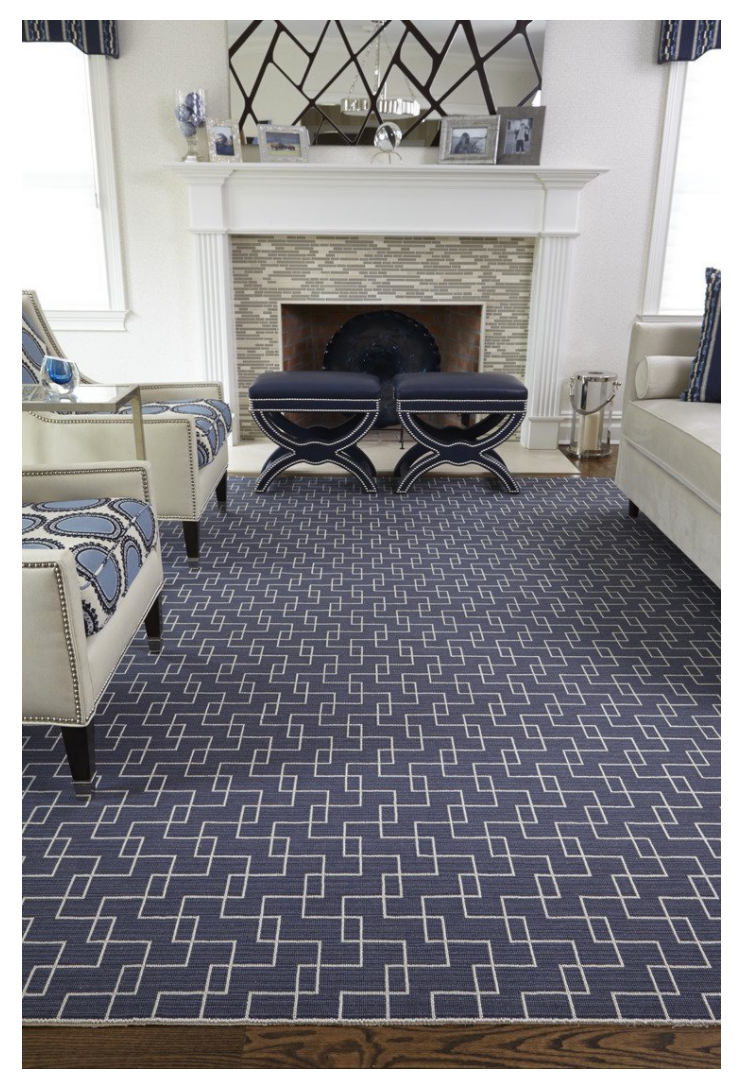 Navy Blue and White Geometric Carpet in Living Room.