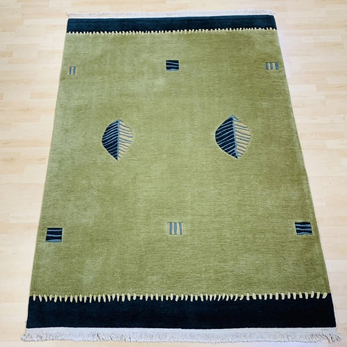 Green and Navy Contemporary Rug