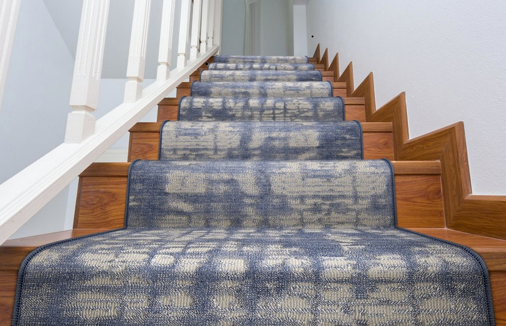 Blue and grey stair runner watercolor pattern
