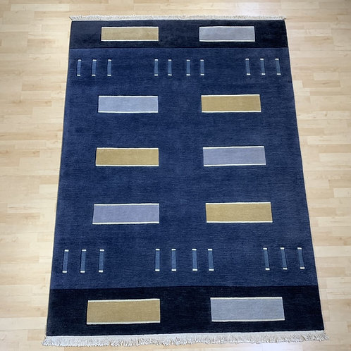 Navy Rug with Block Pattern