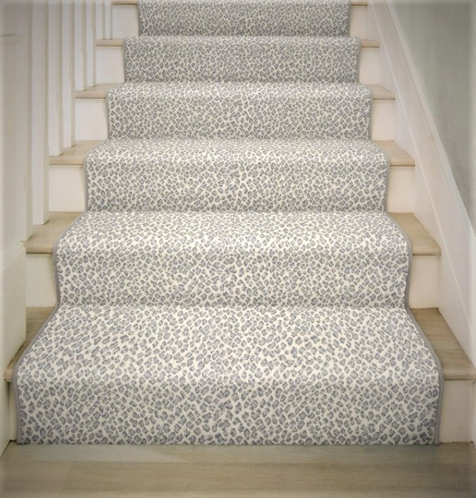 leopard print carpet installed on stairs
