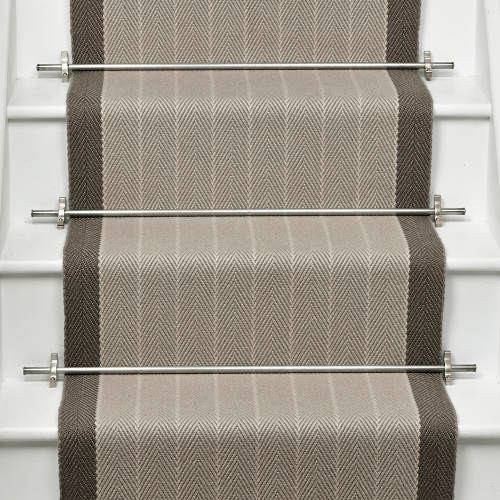 Waterfall Stair Runner with Stair Rods