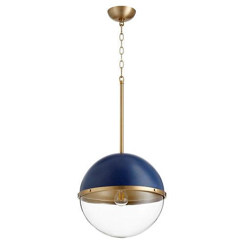 Aged Brass & Blue Soft Contemporary Globe Pendant