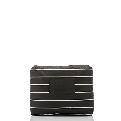 SMALL Pinstripe Pouch, White on Black
