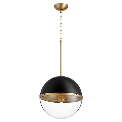 Black and Aged Brass Contemporary Globe Pendant