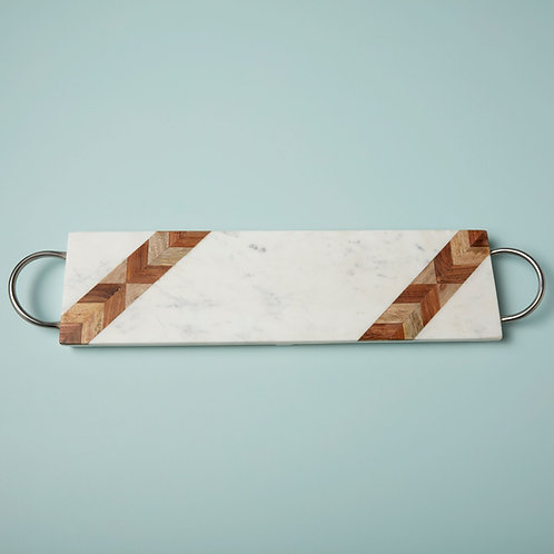 Pavia Mosaic Rectangular Tray with Matte Silver Handles