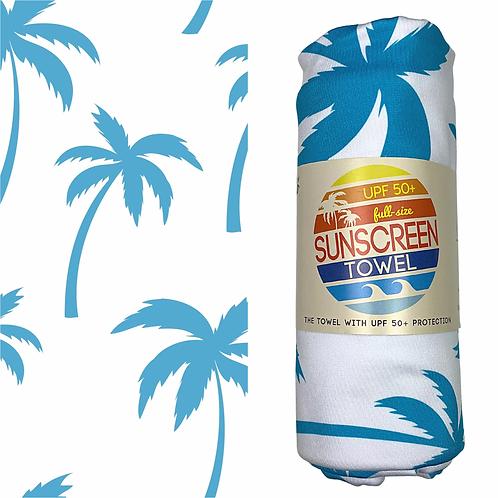 Full Size UPF 50+ Sunscreen Towel, Blue Palm Tree