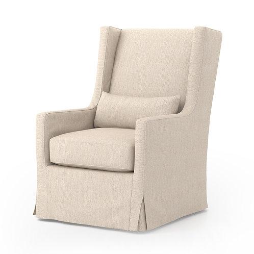 Swivel Wing Chair in Jette Linen