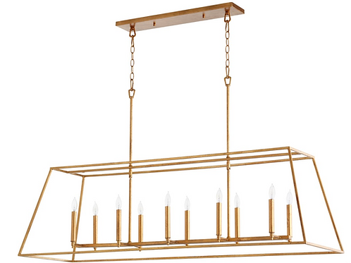 Gabriel Gold Leaf Transitional Linear Pendant