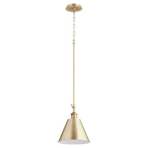 Cone Aged Brass Mid Century Modern Mini Pendant
