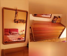 Cassettone e specchiera in legno