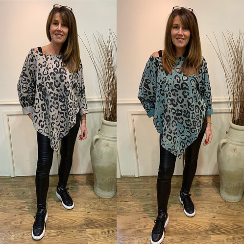 Leopard asymmetric sweat top