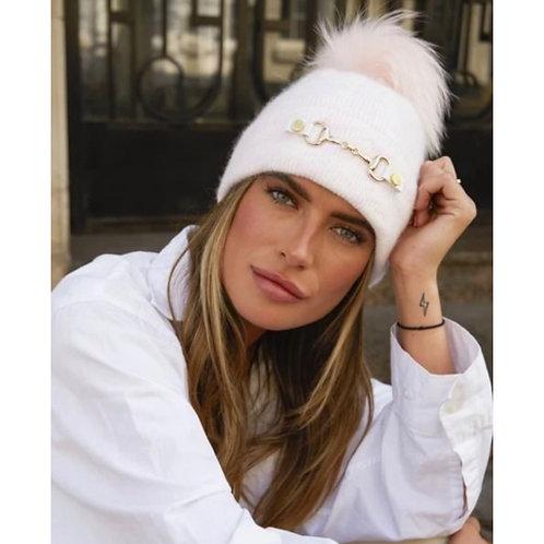 Luxy London - LEXINGTON POM POM HAT - PINK/WHITE