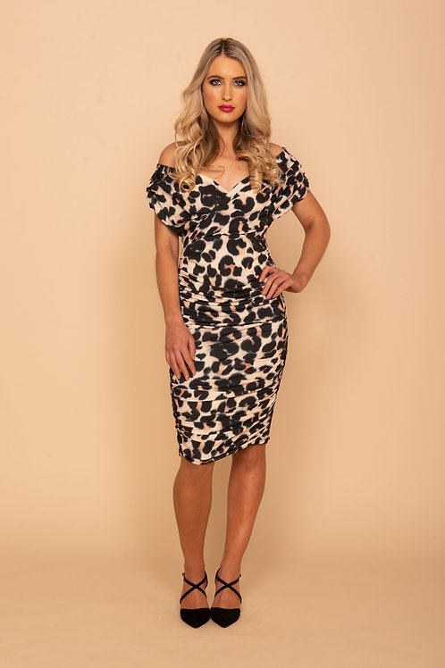 ATOM LABEL - Tyla leopard ruched detail dress