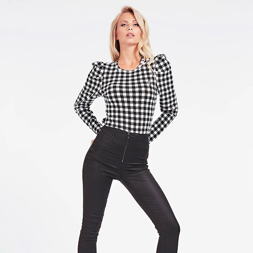 Guess - Puff sleeve dog tooth top