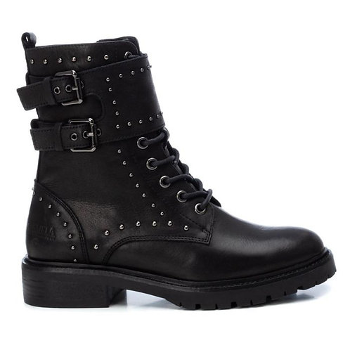 Carmela - Black leather biker boots