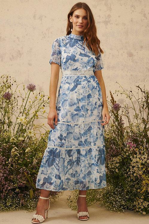 Hope & Ivy - Savannah - Floral lace trim dress • Blue