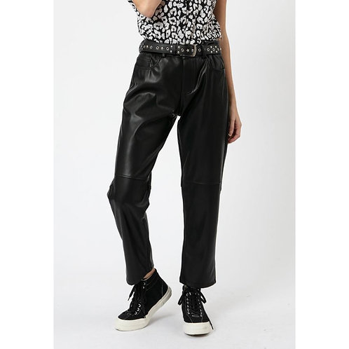 Religion cropped faux leather trousers