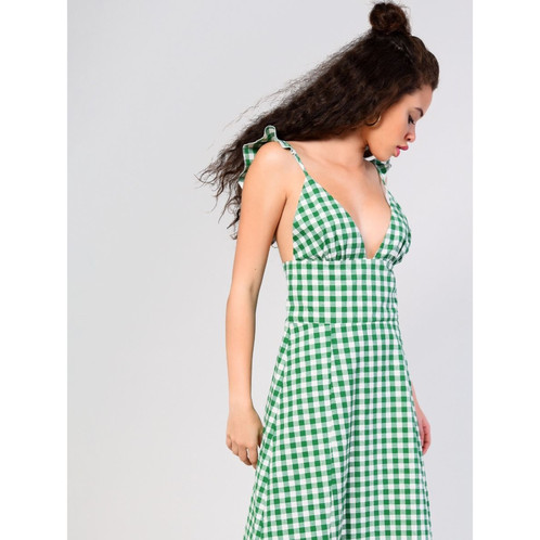 f0657012bd6eb Green White Gingham Midi Sundress. £ 35.99. Gingham print dress with frill  detail cami straps and a plunging neckline