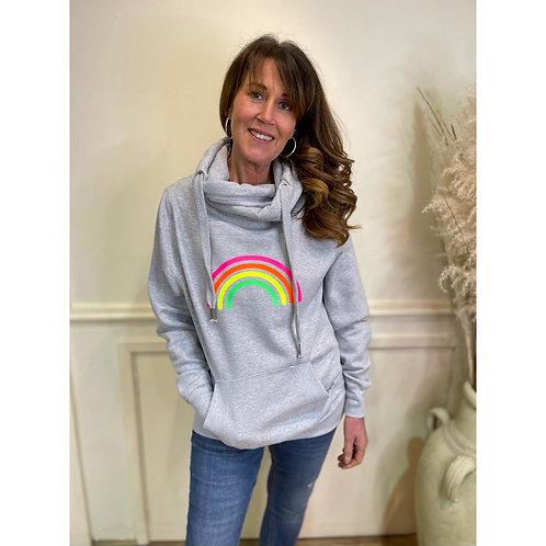 Neon Marl - Neon rainbow cowl hoodie