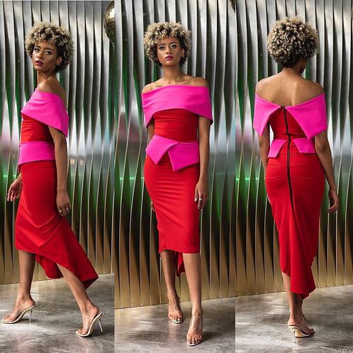 Kevan Jon - ' QUEENIE' Peplum Knee Dress - Red/Pink