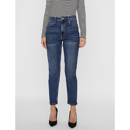 Vero Moda - High rise relaxed tapered mid wash jeans