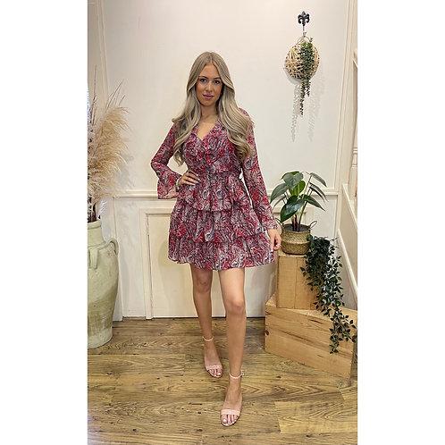 Paisley print frill dress