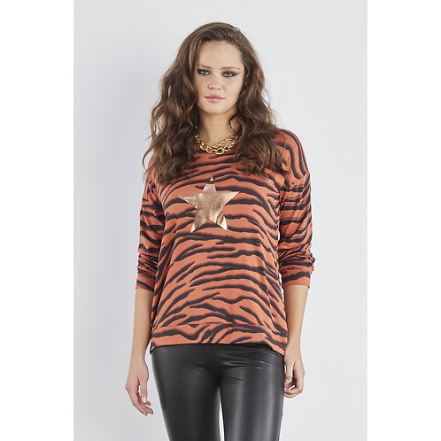Sundae Tee - 'TARA' Tiger print star long sleeve top