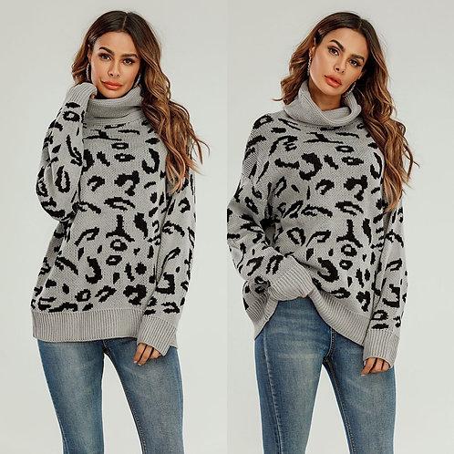 Leopard print polo neck knit