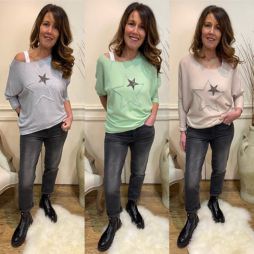 Double star knit top