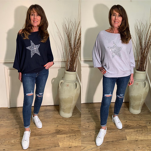 Over sized fine knit star slouch top