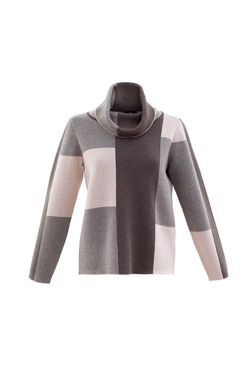 Marble 5904 block print cowl neck knit