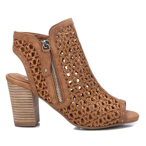 XTI - Woven peep toe side zip shoe boot