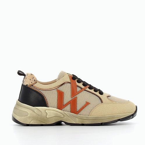 Vanessa Wu - 2315 Beige mesh monogram sneakers
