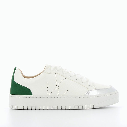 Vanessa Wu - 2306 Perforated monogram sneakers with green heel notch