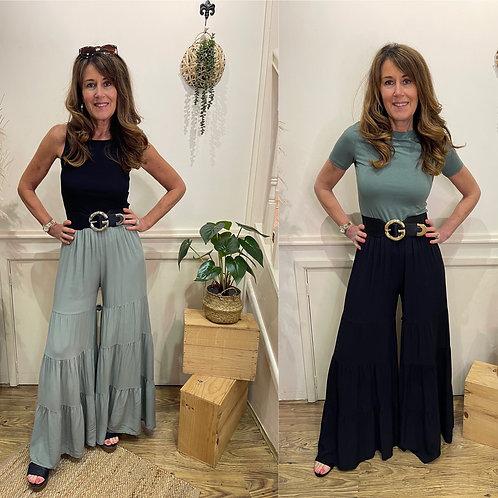 Wide leg full length trousers