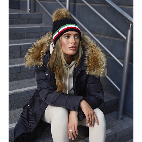 Luxy London - ASTON MERINO WOOL POM POM HAT - BLACK