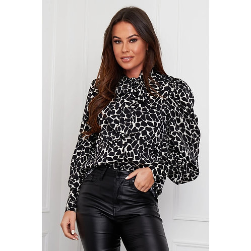 Girl in Mind - Leopard bow tie blouse