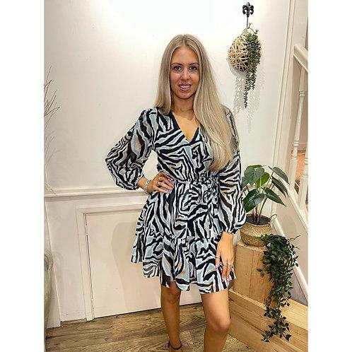 Zebra print v.neck dress - Turquoise