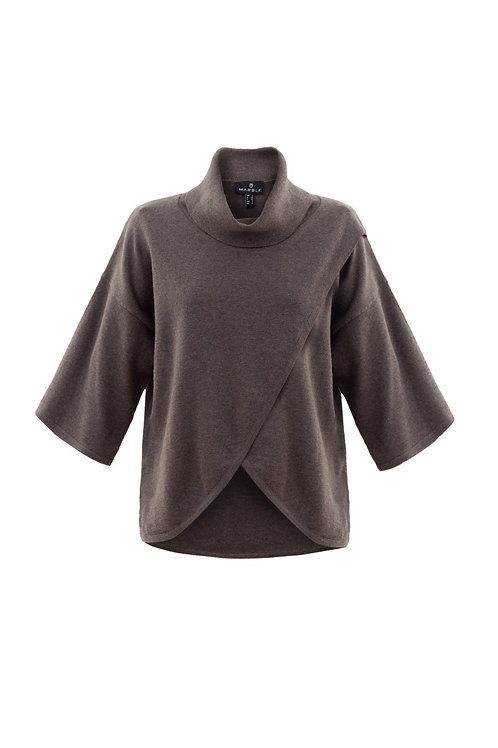 Marble 5897 cowl neck wrap 3/4 sleeve knit