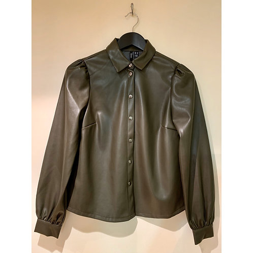Vero Moda - Faux leather shirt - khaki