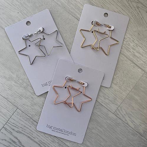 Big metal - Star hoop earrings