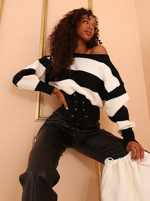 Forever Unique - BLACK & WHITE STRIPE OVERSIZED JUMPER WITH CORSET DETAIL